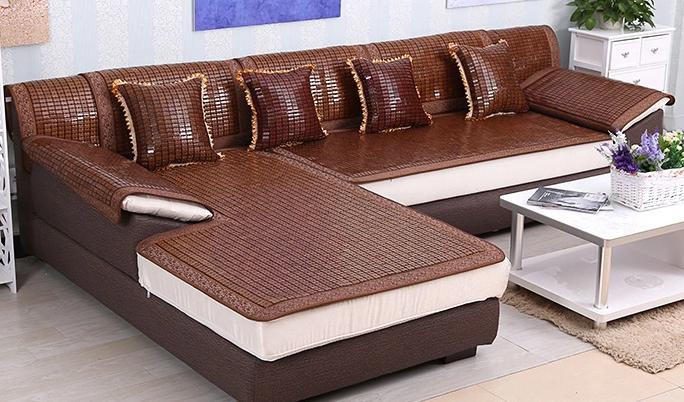 玉竹夏季沙发垫麻将坐垫巾罩套凉席防滑布艺沙发垫 夏天 凉垫定做-tmall.com天猫