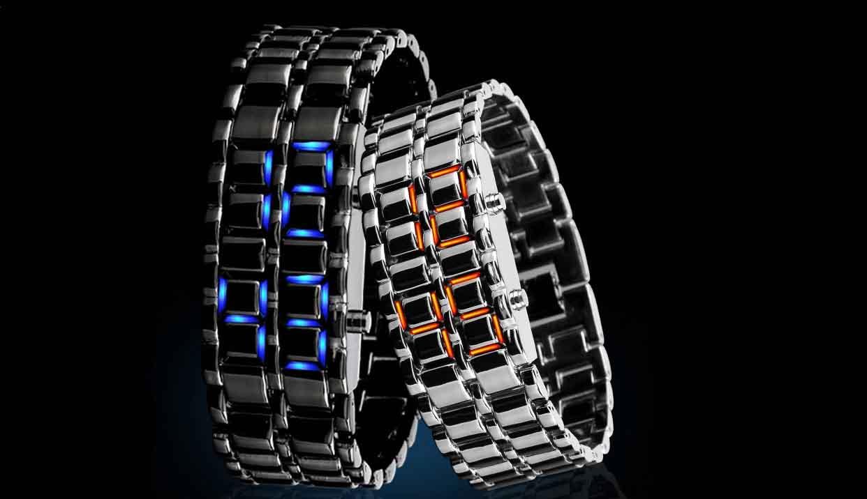 时刻美时尚个性创意熔岩led防水手表 男女士情侣手链复古手表腕表-tmall